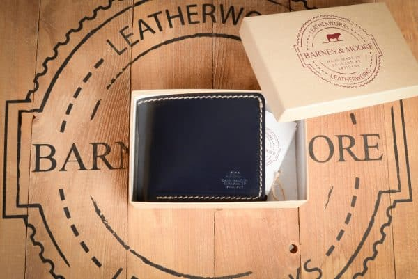 Quartermasters Billfold Navy Blue Leather Wallet